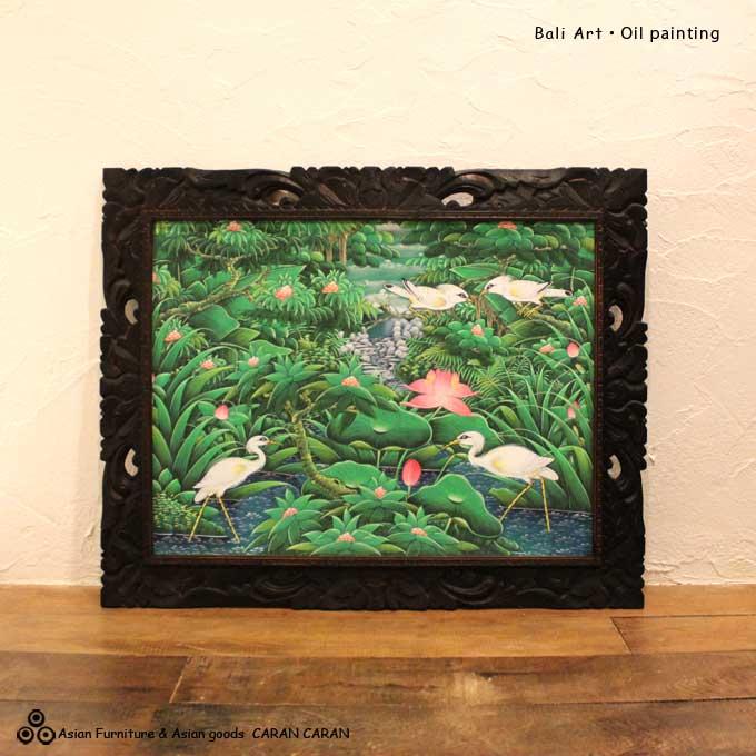 バリ絵画 バリアート バリの鳥と花の絵