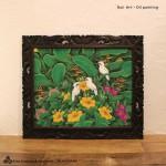 バリ絵画 鳥と花の絵