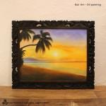 バリ絵画 海の絵 夕日 ヤシの木